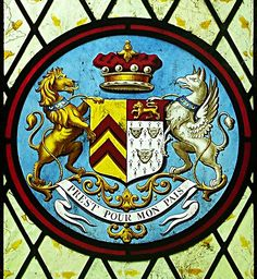 Armorial window in the Church of St. Vincent, at Burton, Lincs, England