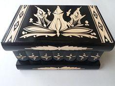 Big puzzle box black jewelry box magic box new mystery wooden secret box tricky trinket handcarved wooden box hidden drawer key treasure