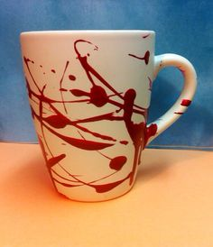 Blood splatter hand-painted coffee mug dexter true blood vampire blood splatters- love you- love gift- on Etsy, $20.00