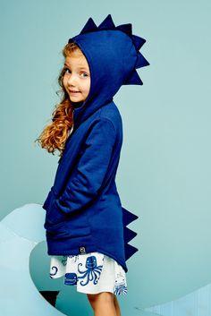 dino hoodie navy by kukukid