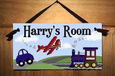 Planes, Trains, and Automobiles Boys Bedroom Door Sign