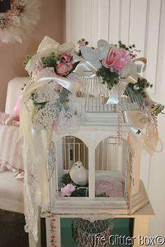 Vintage-Ivory-Wood-Birdcage-Embellished-Vintage-Lace-Shabby-Country-Cottage-Chic