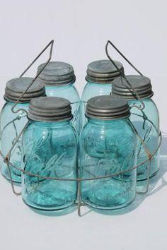 Vintage Blue Mason Jars, a whole set with a holder. ~ Mary Wald's Place - old blue glass canning jars, six vintage Ball mason jars w/ wire jar rack carrier Vintage Mason Jars, Blue Mason Jars, Vintage Bottles, Vintage Perfume, Antique Glass Bottles, Bottles And Jars, Glass Jars, Perfume Bottles, Ball Canning Jars