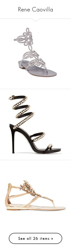 """""""Rene Caovilla"""" by tina-teena ❤ liked on Polyvore featuring shoes, sandals, silver, satin shoes, embellished flat sandals, rene caovilla shoes, flat shoes, embellished sandals, heels and strappy heeled sandals"""