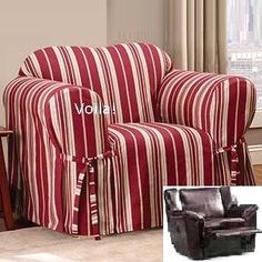 Reclining CHAIR Slipcover City Stripe Burgundy Adapted for Reclining Club Chair