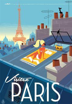 Monsieur Z - Paris Paris Travel, France Travel, Illustration Parisienne, Old Poster, Paris Poster, Tourism Poster, Kunst Poster, Air France, Lyon France
