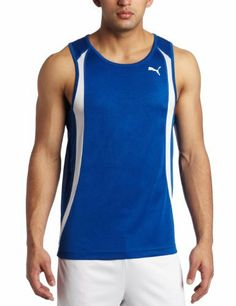 Puma Men's TB Running Race Singlet by PUMA. $22.92. DryCELL fabric wicks away moisture so it can quickly evaporate. dry and comfortable. Puma Cat logo on left chest. contrast color on front; sleeveless