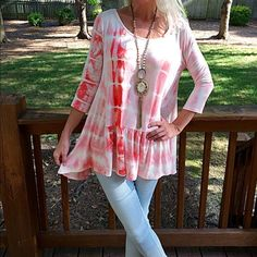 Stunning blush hi lo ruffle top! PARTY SPECIAL!! 3qtr sleeve blush and white hi lo ruffled scoop neck tunic! So pretty! Follow me on Instagram @kfab333 for more looks! Tops