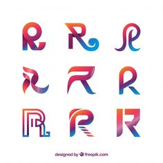 Современная коллекция логотипов r Бесплатные векторы