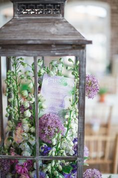 Lavender wedding inspiration - paper signage and flowers in lantern's = STUNNING! Lantern Centerpiece Wedding, Wedding Lanterns, Wedding Decorations, Centerpiece Ideas, Lavender Wedding Centerpieces, Wedding Lavender, Wedding Table, Rustic Wedding, Our Wedding