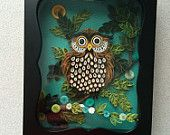 Quilled Paper Owl in Shadow Box by Quillingbyginny on Etsy