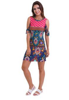 32543e071 O vestido estampado com manga caída da Manola é feito em viscolycra. O  vestido