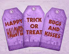 """Digital #Halloween Printable Tags Halloween Tags """"Purple Halloween Tags"""" instant…"""