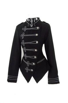 Vintage 1980s WOOL  black Gothic Military Napoleon by shmooozin, $79.00