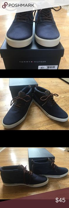 Men's Tommy Hilfiger Tennis shoe/boot. These shoes are NIB. They are a high top tennis shoe in denim. They are a great shoe with jeans! Tommy Hilfiger Shoes Athletic Shoes