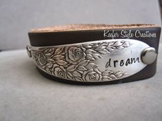 Spoon Hand Stamped Leather Cuff Bracelet by KeeferStyleCreations, $45.00