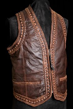 Men's western vest with lapel fully lined, with Indian Nickel snap closure and two pocket trims at front. Leather Biker Vest, Classic Leather Jacket, Wide Leather Belt, Men's Leather, Leather Jackets, Mens Travel Bag, Duffle Bag Travel, Duffle Bags, Travel Bags