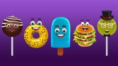 Burger, Chocolate Pop, Donut, Lollipop, Ice Fruit Finger Family Songs