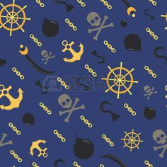 BRIGHT COLORED ANCHORS: Seamless pirate theme pattern, vector background with skulls, anchors, bombs and helm