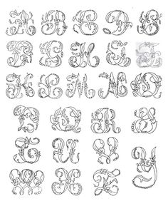 Victorian Alphabets, Monograms and Names for Needleworkers: from Godey's Lady's Book (Dover Embroidery, Needlepoint): Godey's Lady's Book, R. Alphabet A, Hand Lettering Alphabet, Embroidery Alphabet, Embroidery Monogram, Alphabet Design, Hand Embroidery Stitches, Embroidery Art, Cross Stitch Embroidery, Embroidery Designs
