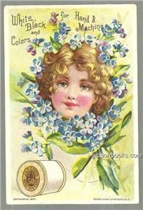 Victorian Trade Card for J P Coats Thread with Lovely Lady with Flowers | eBay