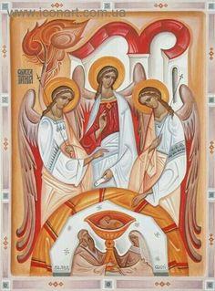by Kost' Markovych (Ukraine,) ___Holy Trinity (contemporary) Religious Images, Religious Icons, Religious Art, Byzantine Art, Byzantine Icons, Monastery Icons, Symbolic Art, Religious Paintings, Biblical Art