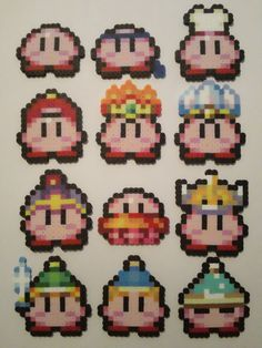 Mini Kirby Perler Bead Sprites by OCBeadSprites on Etsy