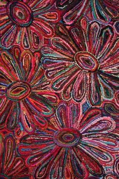 Mozaïek Flower Rug Hooking Patterns, Rug Patterns, Aboriginal Artwork, Punch Needle, Handmade Home Decor, Art Techniques, Textile Art, Wool Rug, Painting & Drawing