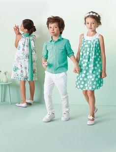 Camisa de popelina de manga larga niño BLANCO CLARO LISO+VERDE CLARO LISO