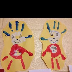 Thing 1 and Thing 2 Handprint Crafts! :)