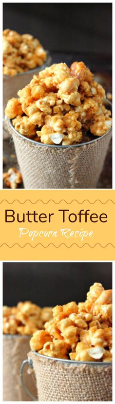 Try Butter Toffee Popcorn Recipe as an awesome snack and to give away for gifts. This is the perfect sweet and salty combination for popcorn. Popcorn Snacks, Popcorn Recipes, Candy Recipes, Popcorn Balls, Butter Toffee Popcorn Recipe, Toffee Recipe, Butter Recipe, Snack Mix Recipes, Cooking Recipes