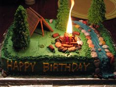 camping cake - so cool! @Christine Sanquer Hall if you decide to do a camping theme, the candle is a little campfire! that's so cool!!