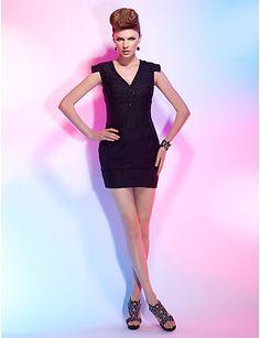 Sheath/Column V-neck Short/Mini Satin Chiffon Cocktail Dress