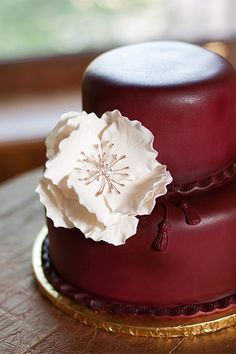 Red two tiered #wedding #cake with a white peony, delicious!