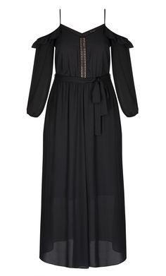 City Chic - FLIRTY SHOULDER MAXI DRESS - Women's Plus Size Fashion