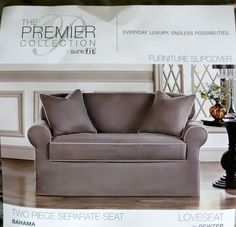 New Sure Fit Premier Collection 2 Pc Separate Seat Loveseat Cover Pewter Box #SureFit #Traditional