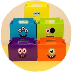 DIY Monster Candy Boxes with free printables - could work as a Halloween Treat Box