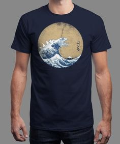 """""""Hokusai Gojira"""" is today's £8/€10/$12 tee for 24 hours only on www.Qwertee.com Pin this for a chance to win a FREE TEE this weekend. Follow us on pinterest.com/qwertee for a second! Thanks:)"""