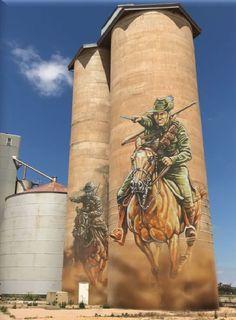 Soldiers on horseback charging - street art on silos Banksy, Outback Australia, Art Du Monde, Grafiti, Ecole Art, Farm Art, Best Street Art, Mural Art, Murals