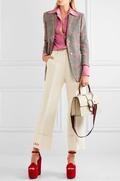 Gucci - Embroidered Wool And Silk-blend Flared Pants - Cream - IT38