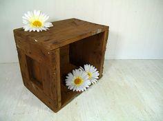 Vintage Solid Wood HandMade Cube Storage  Rustic by DivineOrders