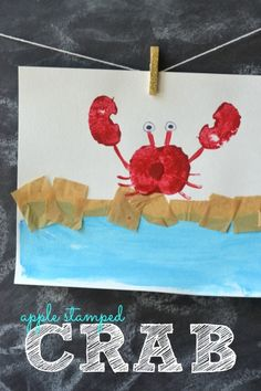 Apple Stamped Crab - Kid Craft More