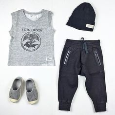 Mini outfit ideas, soft comfy and stylish; with our brand new I Dig Denim sweat singlet & beanie, our new Munster kids  trackies and Native kids shoes. Available online now :  www.hipkin.com.au  #Hipkin #hipkinkids #idigdenim #nativekidsshoes #keepitlite #munsterkids #munster #ministyle #kidsfashion