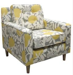 yellow, gray, and white armchair