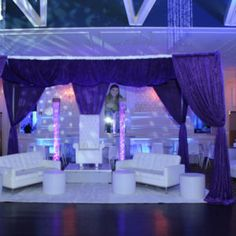 Cabana: Backdrop, bubble columns, ottomans, high chair, and lounge couchs