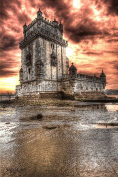 Belem Tower (Lisbon, Portugal) is an UNESCO World Heritage Site. Built in the 16th century to be part of a defense system.