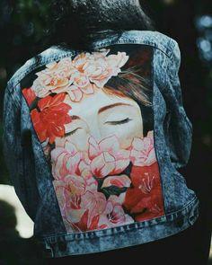 Painted Denim Jacket, Painted Jeans, Painted Clothes, Hand Painted, Custom Clothes, Diy Clothes, Custom Denim Jackets, Denim Art, Fabric Painting