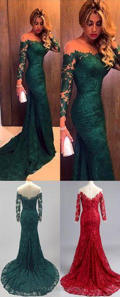 Dark Green Lace Tulle Scoop Neck Trumpet/Mermaid Long Sleeve Prom Dresses