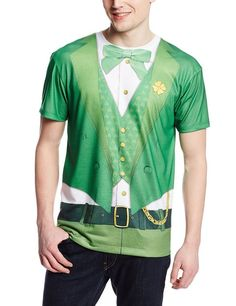 Faux Real Men's Lucky Leprechaun Short Sleeve T-Shirt, Green #FauxReal #NotApplicable