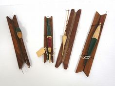 Wooden fishing stocks with early wooden bobbers